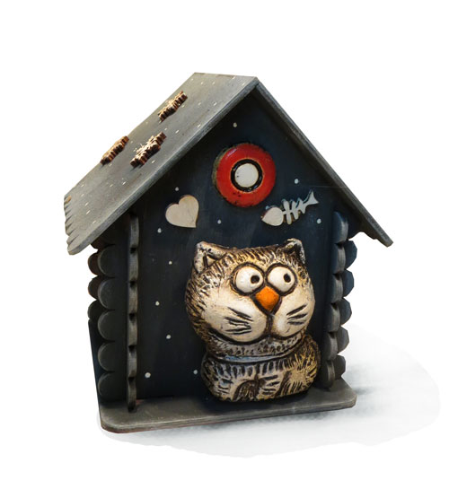 копилка домик с котом