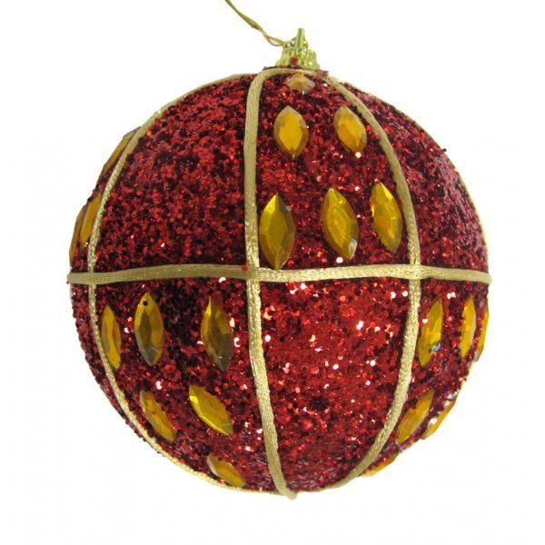 елочная игрушка шар красный золотой