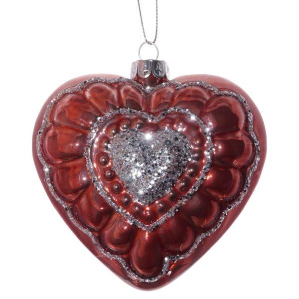 елочная игрушка сердце красное