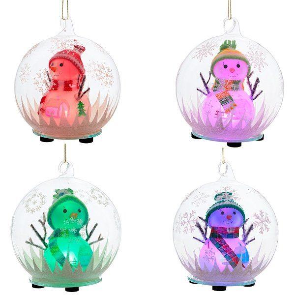 елочное украшение светящиеся шары снеговик