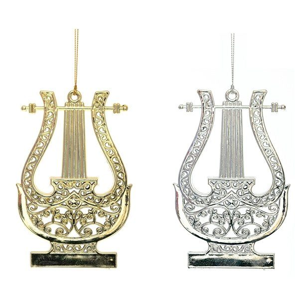 елочная игрушка арфа золотая серебряная