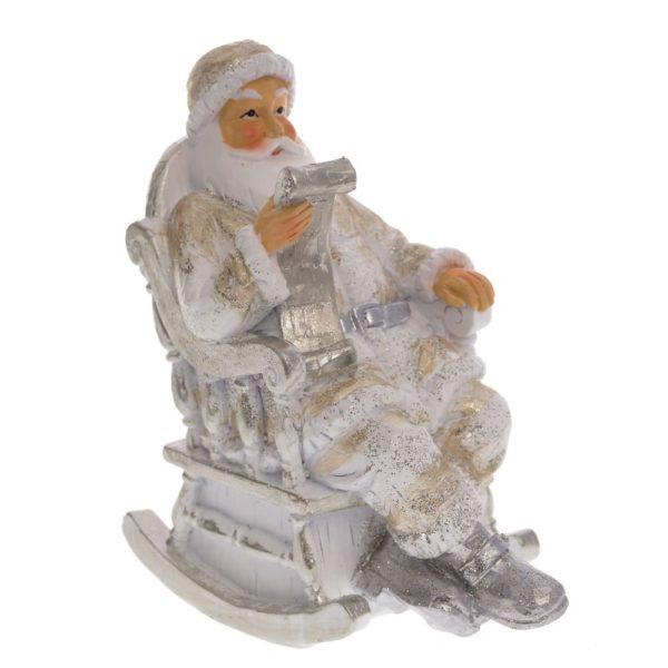 новогодняя фигурка дед мороз в кресле золотой
