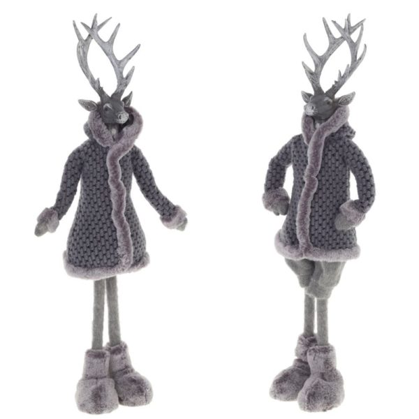 новогодний олень серый сувенир